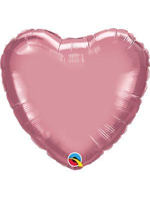 Globo foil corazón Chrome Mauve