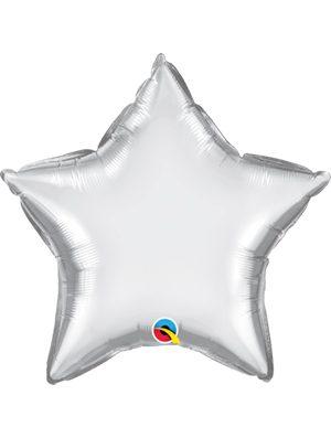 Globo foil estrella Chrome Silver