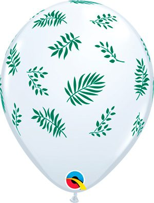 Globo látex White Tropical Greenery