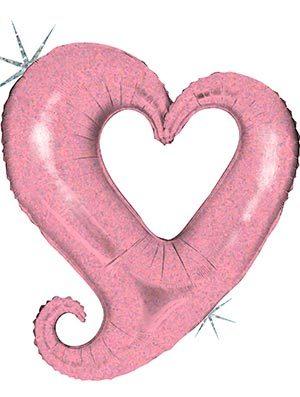 Globo Corazón Holográfico Rosa Chain Hearts 99cm