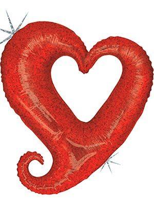 Globo Corazón Holográfico Rojo Chain Hearts 99cm