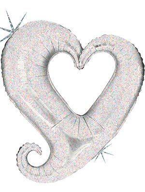 Globo Corazón Holográfico Plata Chain Hearts 99cm
