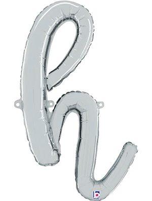 Globo foil letra H Plata Script Letters
