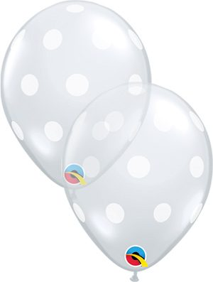 Globo látex Big Polka Dots transparente 11""