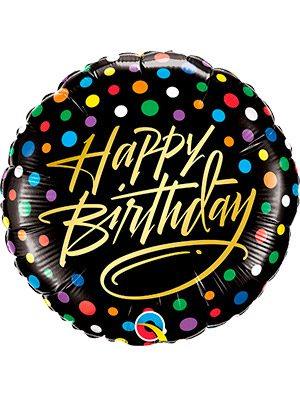 Globo foil Happy Birthday Gold Script & Dots 18""