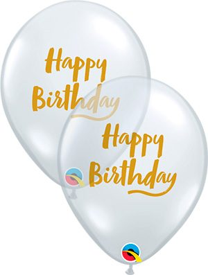Globo látex Birthday Brush Script transparente