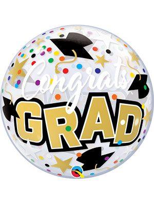 Globo Bubble Congrats Grad Stars & Dots