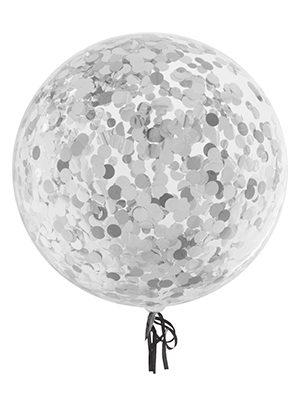 Globo Burbuja transparente con confetti redondo plata