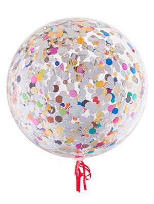 Globo Burbuja transparente con confetti redondo multicolor