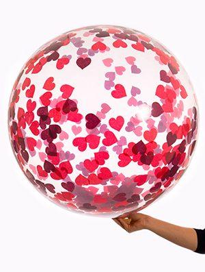 Globo Burbuja transparente con confetti corazones rojo