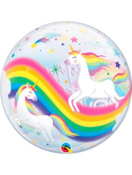 Globo bubble Birthday Rainbow Unicorns