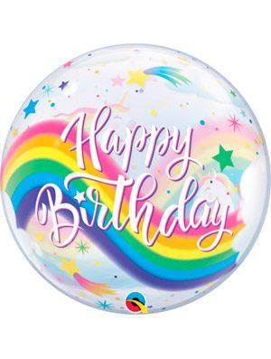 Globo bubble Birthday Rainbow Unicorns