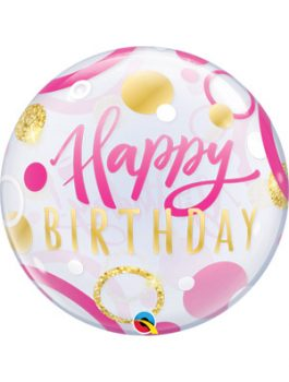 Globo bubble Birthday Pink & Gold Dots