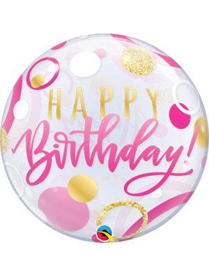 Globo bubble Birthday Pink & Gold Dots