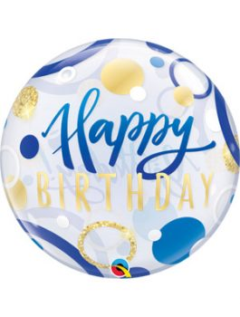 Globo bubble Birthday Blue & Gold Dots