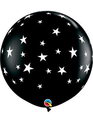 Globo látex gigante Contempo Stars-A-Rnd Negro