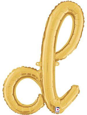 Globo foil letra D Dorado Script Letters