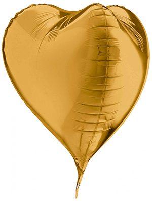 Globo Corazón 3D Dorado 58cm
