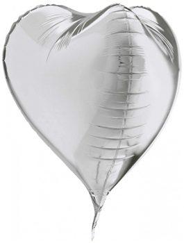 Globo Corazón 3D Plata 58cm