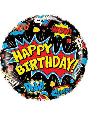 Globo foil Birthday Super Hero Black