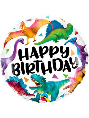 Globo foil Birthday Colourful Dinosaurs