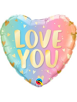 Globo foil Love You Pastel Ombré & Hearts