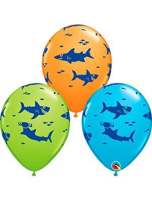 Globo látex tiburones surtido Fun Sharks!