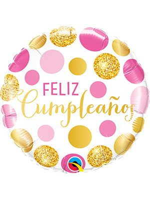 Globo foil Cumpleaños Pink & Gold Dots