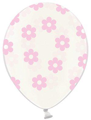 Globo látex flor rosa transparente