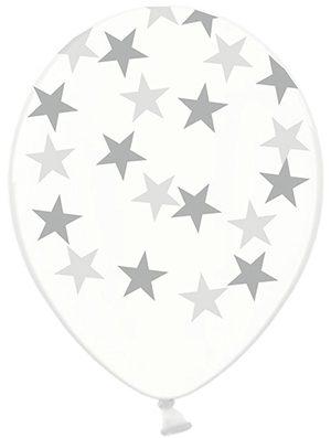 Globo látex estrella plata transparente