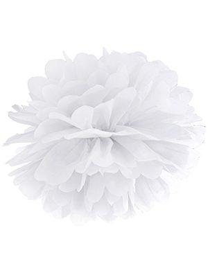 Pompón de papel blanco 35 cms.