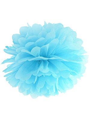 Pompón de papel azul cielo 35 cms.