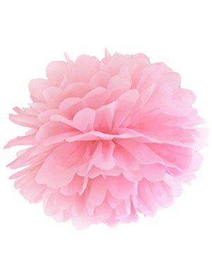 Pompón de papel rosa claro 35 cms.