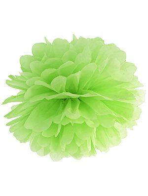 Pompón de papel verde lima 35 cms.