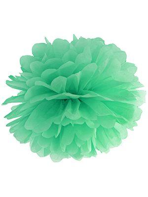 Pompón de papel verde menta 35 cms.