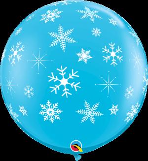 Globo látex gigante azul Copos de Nieve y destellos