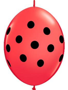 """Globo Quick Link Big Polka Dots rojo y negro 6"""""""