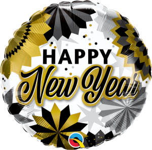 Globo foil New Year Black & Gold Fans