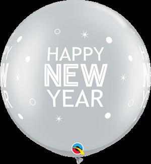Globo látex gigante Año Nuevo Sparkles & Dots Plata