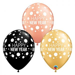 Globo látex Happy New Year Dots surtido