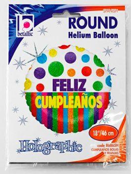 Globo foil Feliz Cumpleaños bolas y franjas