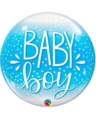 Globo Bubble Baby Boy confetti