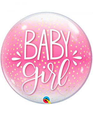 Globo Bubble Baby Girl confetti