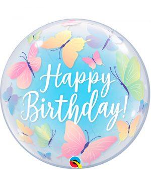 Globo Bubble Birthday Soft Mariposas