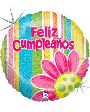 Globo foil Feliz Cumpleaños flor y franjas
