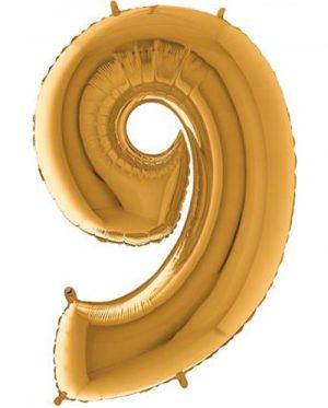 Globo forma numero nueve Dorado