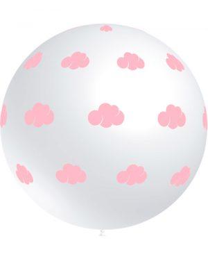 Globo látex 91 cm. con nubes rosa claro Special Deco