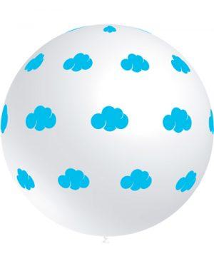 Globo látex 91 cm. con nubes azul claro Special Deco