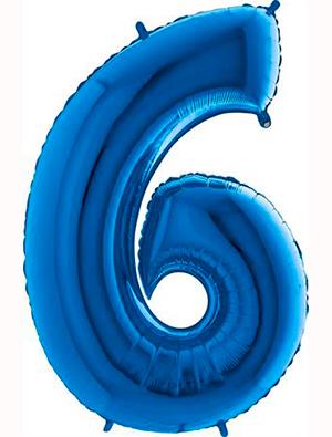 Globo forma numero seis Azul