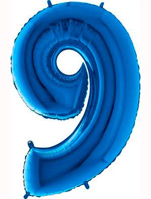 Globo forma numero nueve Azul